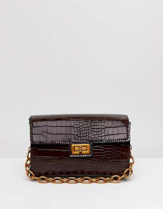 Asos Design DESIGN croc structured boxy cross body with detachable strap