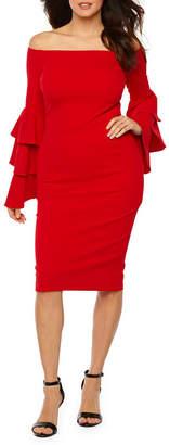 PREMIER AMOUR Premier Amour Long Sleeve Off The Shoulder Sheath Dress