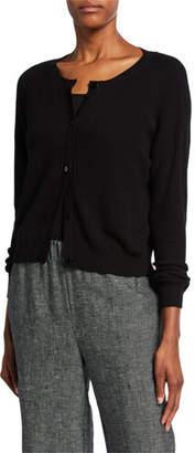 Eileen Fisher Ballet-Neck Button-Front Cardigan