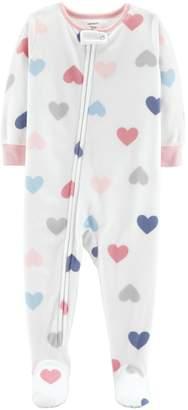Carter's Toddler Girl Heart Print Microfleece Footed Pajamas