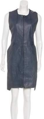 Preen Line Leather Sleeveless Dress