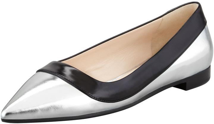 Prada Bicolor Metallic Point-Toe Flat, Black/Silver