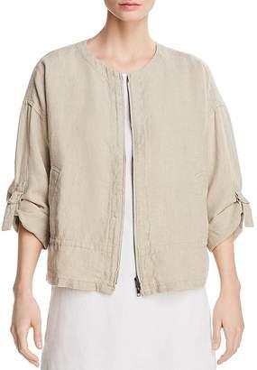Eileen Fisher Organic Linen Zip Front Jacket