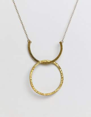 People Tree Fair Trade Silver Plated Brass Arc And Hoop Necklace