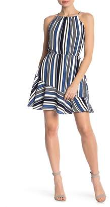 Love...Ady Multi Stripe Halter Flounce Hem Dress