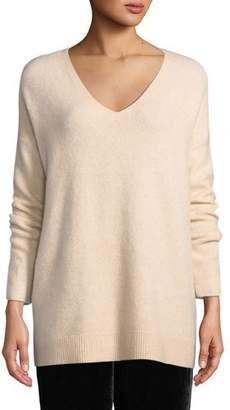 Eileen Fisher Boucle Bliss Cashmere-Blend V-Neck Tunic Sweater