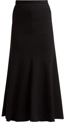 Giambattista Valli Bias Cut Crepe Midi Skirt - Womens - Black