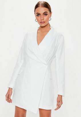 Missguided Petite White Asymmetric Blazer Dress