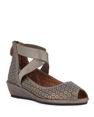 Gentle Souls Lisa Metallic Demi-Wedge Comfort Sandals