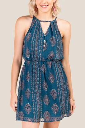 francesca's Claudine Paisley Keyhole Dress - Dark Teal