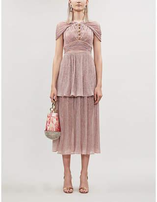 Peter Pilotto Metallic tiered plissé crepe midi dress
