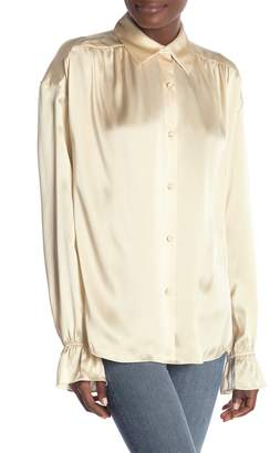 Frame Long Sleeve Silk Top
