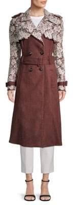 Carolina Herrera Lace Trim Trench Coat
