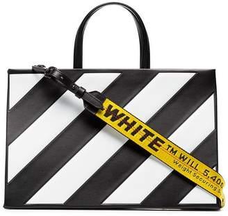 Off-White Striped Medium Leather Tote Bag