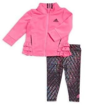 adidas Baby Girl's Two-Piece Ruffled Jacket and Leggings Set
