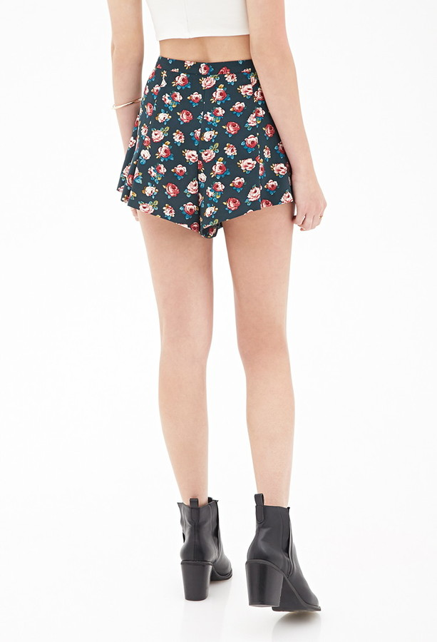 Forever 21 Watercolor Floral Woven Shorts