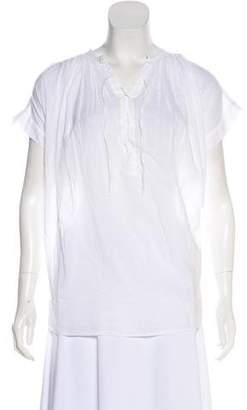 Nili Lotan Short Sleeve Lace-Up Tunic