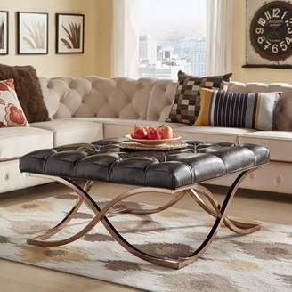 Weston Home Libby Button Tufted Cushion Ottoman Coffee Tabel with Champagne Gold Metal X-Base, Multiple Colors