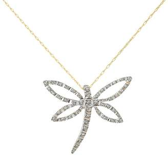 N. Diamond Fascination Dragonfly Pendant with Chain, 14K Gold