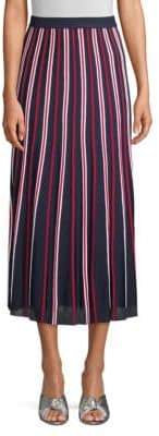 Sandro Knit Striped Midi Skirt