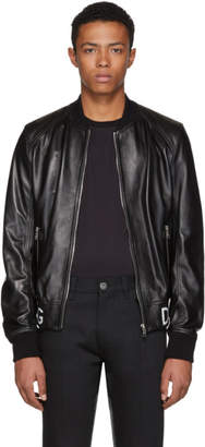 Dolce & Gabbana Black Leather Bomber Jacket