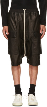 Rick Owens Black Leather Pods Cargo Shorts $2,245 thestylecure.com