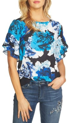 Women's Cece Bouquet Ruffle Sleeve Blouse $79 thestylecure.com