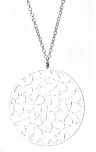 Kris Nations Silver Orchid Pendant Necklace