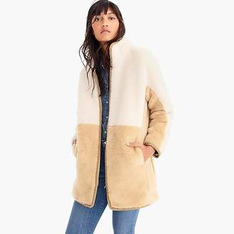 J.Crew Colorblock zip-up teddy coat