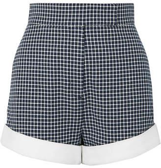 Sara Battaglia Checked Cotton-blend Tweed Shorts - Navy