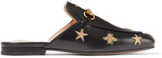 Gucci Princetown Horsebit-detailed Embroidered Leather Slippers - Black