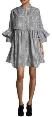 French Connection Pleated Bell-Sleeve Shirtdress
