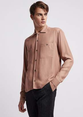 Emporio Armani Shirt In Peach-Skin Canvas With Breast Pockets