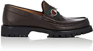 Gucci Men's Horse-Bit Web-Striped Leather Loafers