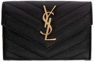 Saint Laurent Black Small Envelope Foldover French Wallet