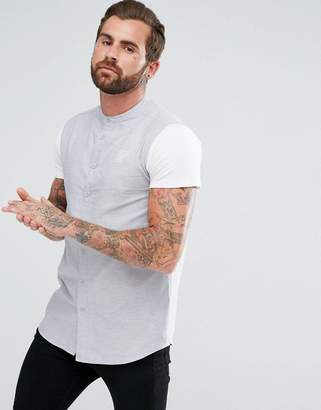 SikSilk Muscle Shirt In Gray With Jersey Sleeves