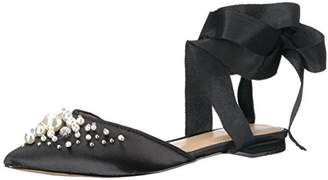 The Fix Women's Porter Pointed Toe Ankle Wrap Flat Slide Pearls