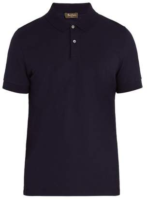 Berluti - Leather Trimmed Cotton Polo Shirt - Mens - Navy