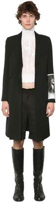Ann Demeulemeester Wool Blend Canvas Coat W/ Patch