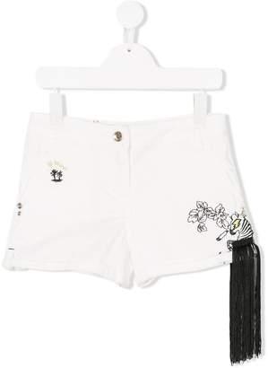 Patrizia Pepe Junior fringed trim embellished shorts