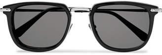 Brioni D-Frame Tortoiseshell Acetate and Gunmetal-Tone Sunglasses
