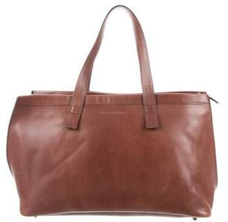 Brunello Cucinelli Felt-Trimmed Leather Tote