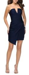 La Femme Strapless Asymmetrical Party Dress
