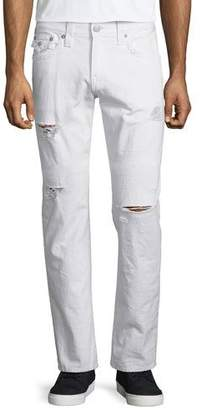 True Religion Geno Ripped & Worn Denim Jeans, White Rapids