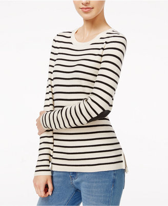 Maison Jules Striped Elbow-Patch Sweater, Only at Macy's $69.50 thestylecure.com