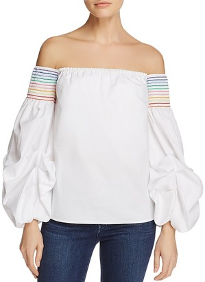 PETERSYN Audrey Smocked Off-the-Shoulder Top $273 thestylecure.com