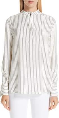 Co Stripe Silk Satin Split Back Top