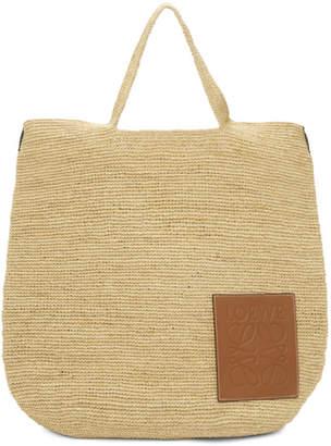 Loewe Tan Raffia Slit Large Bag