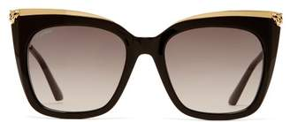 9078236689453 Cartier Eyewear - Panthere De Acetate Oversized Sunglasses - Womens - Gold