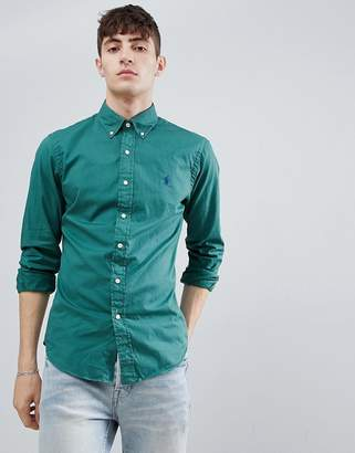 Polo Ralph Lauren slim fit garment dyed shirt player logo button-down in washed green